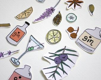 Gin Lover Gift, Gin Theme Sticker Set, Gin Gift Set, Gin Art Sticker Pack, Gin and Tonic, Gin Botanicals