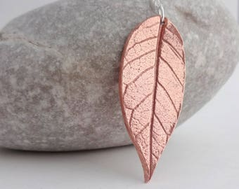 Copper Leaf Necklace, Copper Pendant, Nature Jewellery, Leaf Print, Handmade Copper Jewellery, Anniversary Gift for Her, Gift for Women