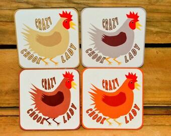 COASTER/FRIDGE MAGNETS - set of x4 - chickens!