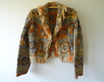 Vintage cropped Jacket with fringe and Geometric print