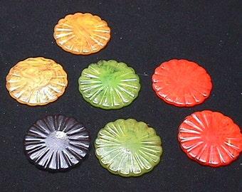 Seven Vintage Bakelite ? Multi-Color Design Discs