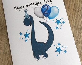 Personalised dinosaur birthday card, personalised boys dinosaur card, boys age card, boys name card, dinosaur birthday card, dinosaur card
