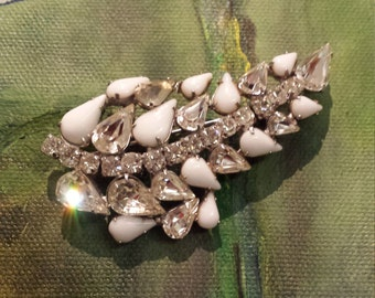 Vintage clear crystal and milk glass leaf brooch