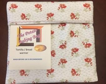 Microwave Potato Bag-Red Floral,Handmade, Cotton,Veggie Baker,Potato Baker,Bread warmer,Tator Baker, tortilla warmer, Ready to Ship