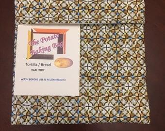 Microwave Potato Bag - Brown Stain Glass,Handmade,Cotton,Veggie Baker,Potato Baker,Bread warmer,Tator Baker, tortilla warmer, Ready to Ship