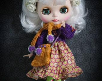Clothing (dress, scarf, handbag). Clothes for dolls (Dolls) Blythe, Pullip, Licca Tangkou, Momoko