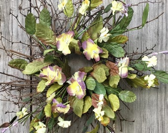 Twig Wreath with Purple and Yellow Flowers, Spring Wreath, Summer Wreath, Wedding Wreath, Nursery Decor, Primitive Wreath,  Free Shipping