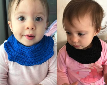 Baby Scarf, baby bib, baby neck warmer, crochet cotton, dribble bib