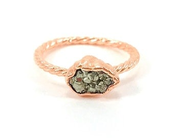 Pyrite Ring, Raw Stone Ring, Raw Crystal, Electroformed Ring, Copper Ring, Silver Gemstone, Fool's Gold, Rough, Nugget, Healing, Edgy
