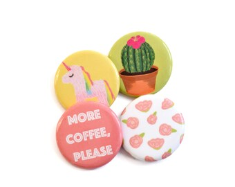 Unicorn, Cactus, Floral, and Coffee Button Pins, Button badge set