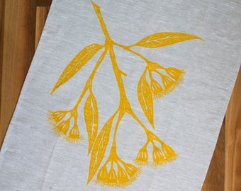 100% natural linen kitchen dish cloth, screen printed with gum blossom design in yellow. Unique dish towels / tea towels. Kitchen decor.