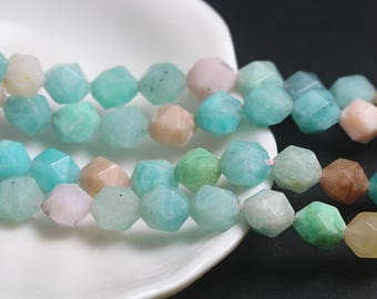 8mm 10mm Faceted Amazonite beads, Natural Faceted Amazonite Beads, 15 inch full strand