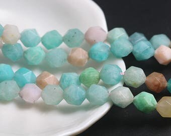 8 mm Faceted Amazonite beads, Natural Faceted Amazonite Beads, 15 inch full strand