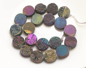 1 Strand of Druzy Beads, Druzy Agate Beads, Mixcolor Round Drilled Druzy Beads (10mm 12mm 14mm)