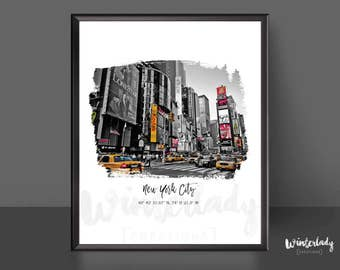 New York City wall art poster print  | Printable | Instant Download