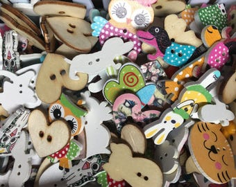 Mixed Lot of 20 Buttons - Random Mystery Mixed Bag