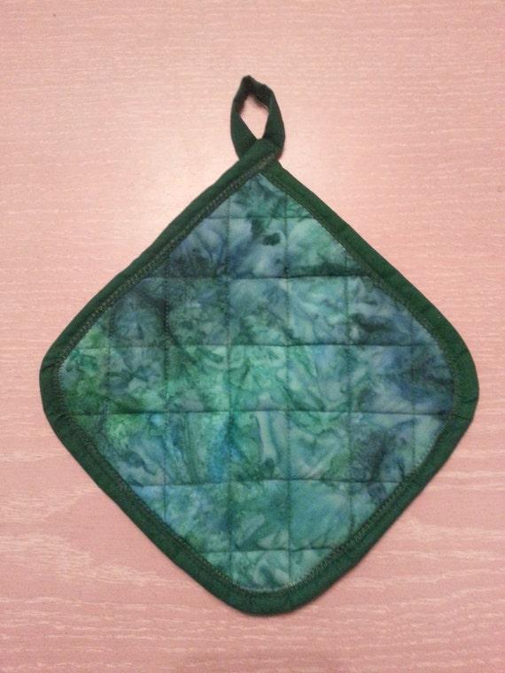 "Handmade "" Green-Teal Tye-Dye Print "" Potholder"