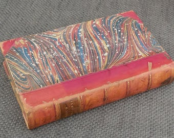 1840 Gorgeous MARCO VISCONTI Antiquarian Italian BOOK..Half Leather, Marbled Boards..Winstanley Binding..Antique Reading..History Literature