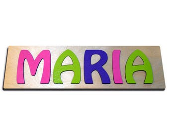 Hand Crafted Personalized Wooden Name Puzzles Child's Name, Custom Made Puzzle Pink, Bright Green, Purple id244401399