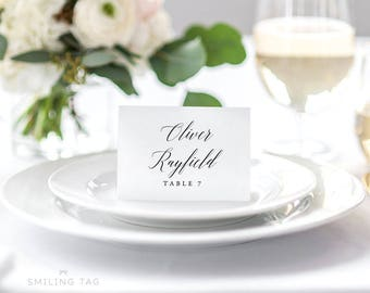 Personalized Printable Wedding Place Cards - Modern Romantic Calligraphy Wedding Escort Cards - Table Setting - (Item code: P475)
