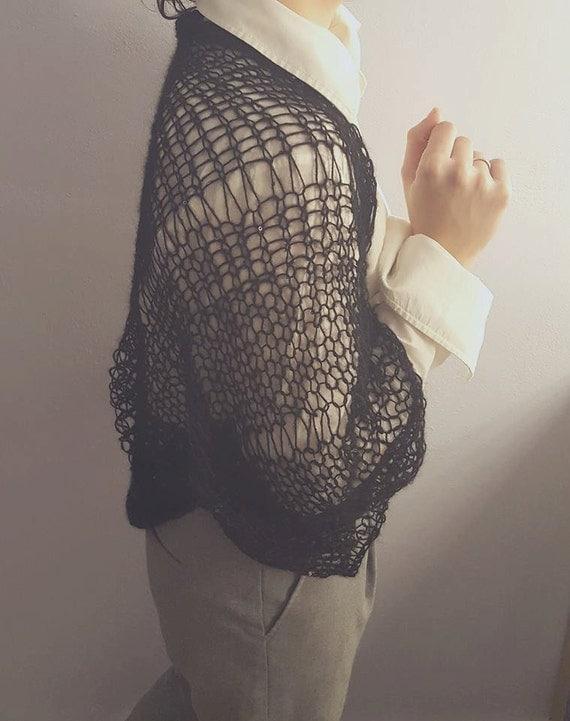 Mohair loose knitted bolero / shrug / capelet / scarf. Hand knitted four seasons bolero / capelet / shrug made by mohair & acrylic yarn
