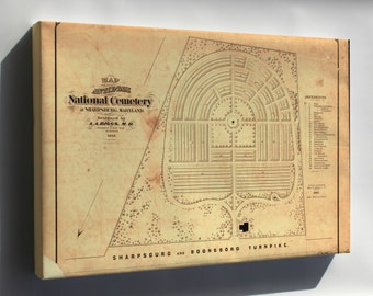 Canvas 24x36; Map Of Antietam National Cemetery Maryland 1867