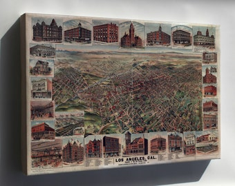Canvas 24x36; Map Of Los Angeles, California 1891