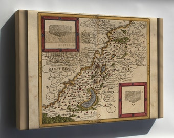 Canvas 16x24; Map Of Holy Land Israel Palestine In German 1588