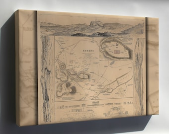 Canvas 16x24; Map Of Athens Greece 1832