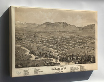 Canvas 16x24; Birdseye View Map Of Ogden City, Utah Territory 1875