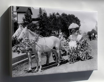 Canvas 16x24; Horse-Drawn Wagon Decorated With Flowers For La Fiesta De Los Angeles (Chs-997) #031715