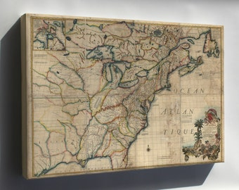 Canvas 16x24; Map Of North America Early United States  1777 P2