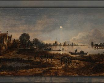 16x24 Poster; River View By Moonlight By Aert Van Der Neer
