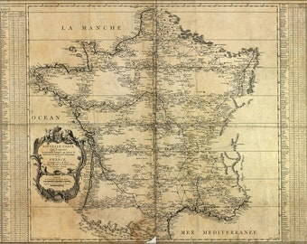 16x24 Poster; Map Of France 1744