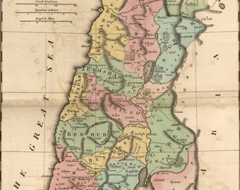 16x24 Poster; Bible Map Of Israel During Reign Of Solomon 1826
