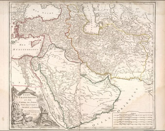 16x24 Poster; Map Of Middle East Persian Empire 1740 In French