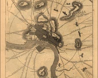 16x24 Poster; Map Of Richmond, Virginia 1864