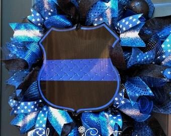 Thin Blue Line Wreath, Police Wreath, Police Gift, Front Door Wreath, Law Enforcement Wreath, LEO, Blue Line Shield Wreath, Police Officer