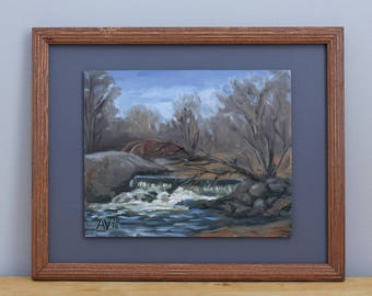 Saddle River Waterfall original framed plain air landscape oil painting by Aleksey Vaynshteyn