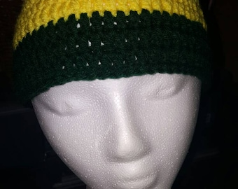 Crocheted yellow and green beanie