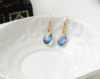 Crystal Earrings, Light Blue & Gold Faceted Earrings, Oval Drop Earrings, Bridesmaid Jewelry, Bridesmaid Gift, Something Blue