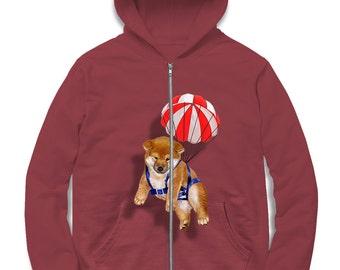 "Zip Hoodie for Men, Women, Kids, Graphic zip hood, ""Cute Shiba Inu Parachute, Japanese Dog"" French Terry Zip Hooded Sweatshirt"