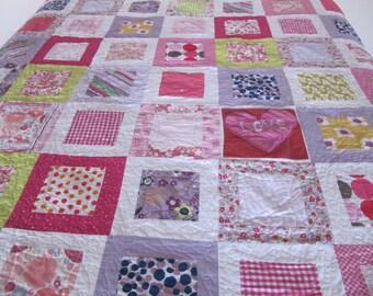 Custom quilt - memory quilt - baby clothes quilt - memorial quilt - family keepsake - t shirt quilt - memory pillow
