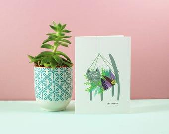 Grey Cat Terrarium Card