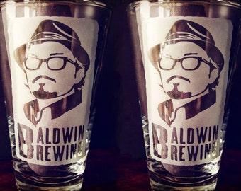 BALDWIN BREWING Custom Etched Pint Glasses - Set of 2!
