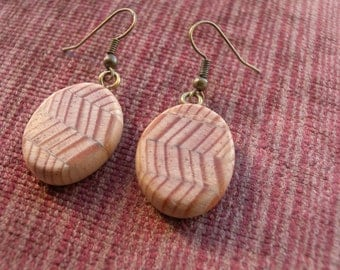 LOVE WAVES - Handmade earring , earring, earring with wood, wood
