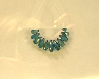 Blue green kyanite faceted drop briolette beads AAA 6-8.5mm 11pcs