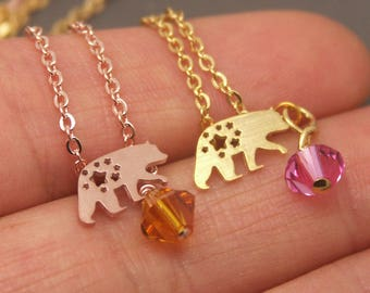Polar Bear Necklace, Baby Bear Necklace, Bear Cub Necklace, Bear Jewelry,Animal Necklace,Personalized Birthstone Necklace,Grizzly Bear NB866