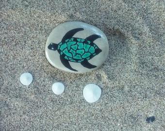 Painted Sea Turtle Stone