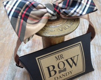 Dapper Bow Tie in Scottish Tartan ' Camel Stewart' 100% silk ,adjustable neck fitting available in over 50 colours and patterns.